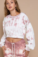 POL Clothing Rose Drop Crop Sweat Shirt in color Rose Drop Tie Dye Style Number SMT1639;Women's cropped sweatshirt;women's spring sweat shirt;Women's Modern Chic Clothing and Accessories;tie dye cropped sweatshirt;POL Clothing;Women's Online Clothing and Accessories Boutique;Shopbfree;Bfree_boutique;bfreebabe;MyBfreeStyle;Valentine's Gift Idea;Women's Spring Knits;Women's Spring Fashion;