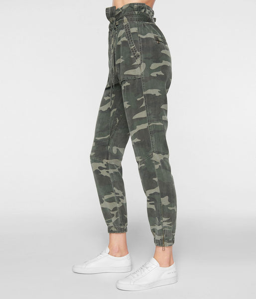 Pam & Gela CAMO PANT W/ FOLDED WAIST style number TN44372027 on shopbfree.com; Women's Camo Pants; WOmens; Papger Bag pant; Women's online boutique