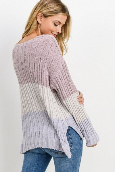Paper Crane Knit Colorblock Long Sleeves Sweater Style Number A70728N In Mauve Muti;Women's Sweater;Women's Holiday Gift Idea;Winter Sweater;Women's Online Clothing and Accessories Boutique;shopbfree;Bfree_Boutique;BfreeBabe;MyBfreeStyle;Women's Color Black Sweater