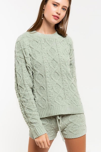 Pol Clothing Ultra plush cable knit berber fleece sweater JP16 in Sage Green;Women's Holiday Gift Idea;Women's Cable Knit Sweater;POL Clothing Sweater;Women's Loungewear;Women's online Fashion and Accessories Boutique;Shopbfree;Bfree_boutique;BfreeBabe;MyBfreeStyle;Bfree
