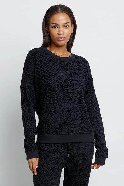 Rails Clothing Marlo in Black Flocked Cobra Style Number 801-352-2276 on shopbfree.com; Women's Elevated Sweatshirt; Rails Sweatshirt; Black Sweatshirt; Women's Fashion; Women's Clothing; Women's online clothing;women's boutique; BfreeBabe; MyBfreeStyle; Bfree_Boutique Rails Clothing online