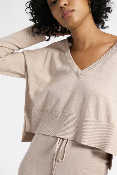 Sanctuary Clothing Essential V-Neck Crop in color latte Heather Style Number CW0766SCN-LtHt;Women's Spring Loungewear top;Women's Spring v-neck top;Women's Loungewear;Women's Online Clothing and Accessories Boutique;Shopbfree;Bfree_boutique;bfreebabe;MyBfreeStyle