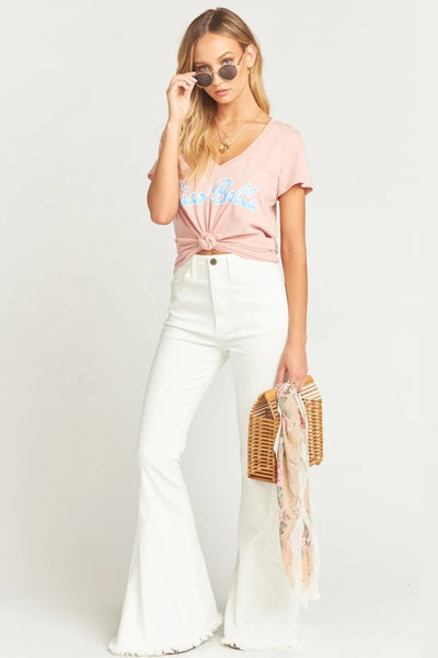 Show me your mumu Grant V Neck Ciao Bella Tee MS9-1570 in Peach on shopbfree.com