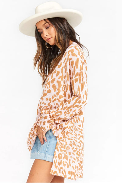 Show Me Your Mumu Cliffside Sweater MS0-4067 in Pink Leopard