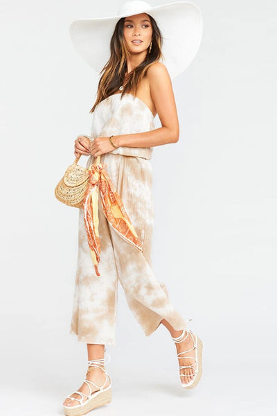 Show Me Your Mumu Estelle Jumpsuit Style MS0-708 BR87 In Twisted Tie Dye Tan on shopbfree.com bfreebabe mybfreestyle