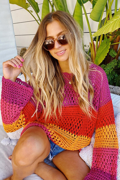 Show My Your Mumu Paula Pullover Style MS0-1227 in Rainbow Stripe Crochet on shopbfree.com