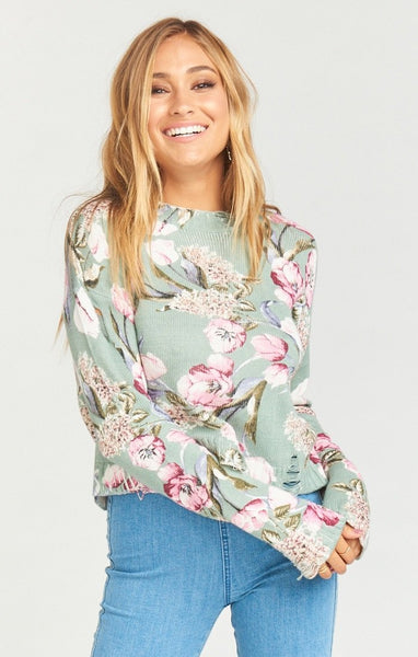 CROPPED VARSITY SWEATER ~ PRIMAVERA FLORAL