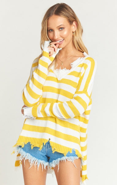 DELPHINA DISTRESSED SWEATER - YELLOW RUGBY STRIPE