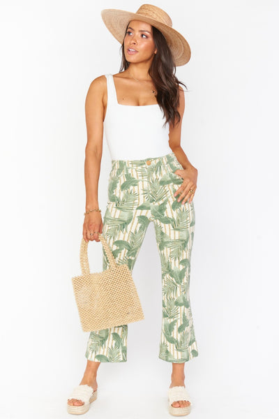 Show Me Your Mumu Cropped Hawn Trouser Style Nimber MDS0-343-BP19;Women's Palm Leaf denim pant; show me your mumu pant;Women's Online Clothing and Accessories Boutique;SHopbfree;Shopbfree.com;Bfree_Boutique;MyBfreeStyle
