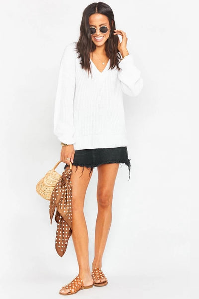 Show me Your Mumu Boswell Sweater in White Style Number MM0-4088 WK87 on shopbfree.com