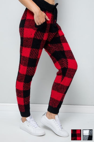 Song and Sol Buffalo Plaid Teddy Joggers Style Number SWJ-SP-711;Buffalo Plaid joggers;Women's Holiday Gift Idea;Cozy Gift;Plaid Joggers;Women's online Fashion and Accessories Boutique;Shopbfree;Bfree_Boutique;MyBfreeStyle;BfreeBabe