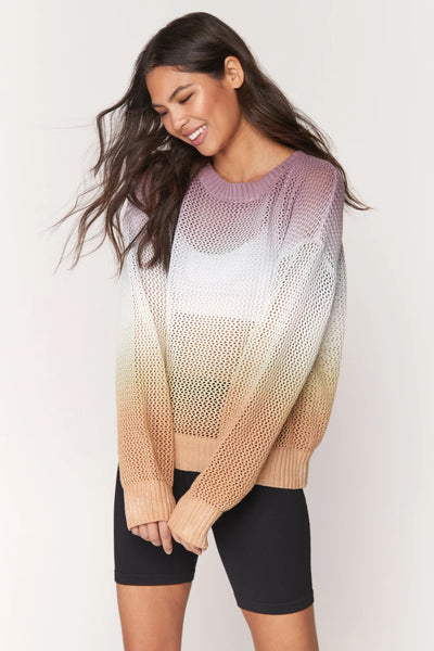 Spiritual Gangster Romy Mesh Sweater in Sunrise Dip Dye Style Number FA00417018 SUN on shopbfree.com