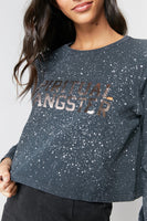Spiritual Gangster Varsity Fiona Long Sleeve Tee In Speckle Bleach Dye FA90419020 BKW