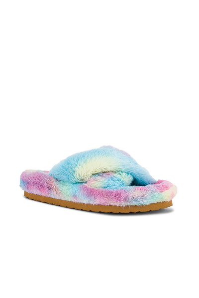 Steve Madden Fuzed Slide in Blue Multi;Women's Slipper;Tie Dye Slipper;Women's Slide Slipper;Women's Tie Dye Slide Slipper;Women's Online Clothing and Accessories Boutique;shopbfree;Bfree_Boutique;BfreeBabe;MyBfreeStyle