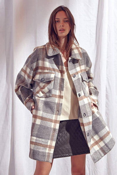 Storia Clothing Don't Call Me Karen Plaid Shacket Style Number JT2950 Grey Check;Women's Spring Plaid Jacket