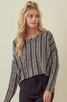 Storia Stripe Crop Top Style Number ST1040B on shopbfree.com