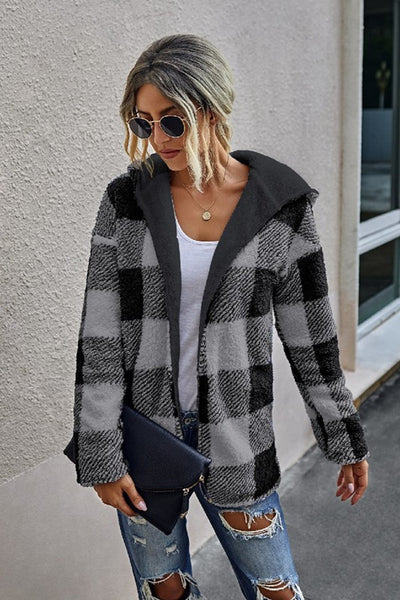 Supreme Fashion Reversible Buffalo Plaid Hooded Cardi Style Number WT314S5104 in Black;women's buffalo plaid cardigan;women's cardigan;women's hooded cardigan;women's fall cardigan;women's sweater Cardi;Women's Sweater;Women's online Fashion and Accessories Boutique;Shopbfree;Bfree_boutique;bfreebabe;MyBfreeStyle;