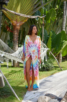 Surf Gypsy Tie Dye Twist Front Duster Cover Up Dress Style Number A7009 Multi in Multi Color Tie DYe on shopbfree.com