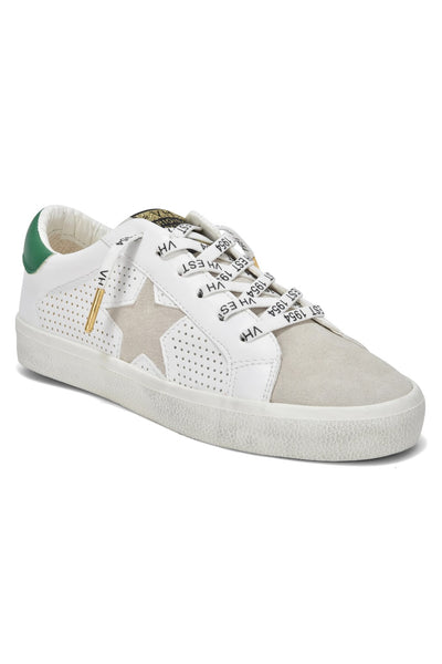 Vintage Havana Footwear Gadol Dotted Sneaker in White and Green on shopbfree.com