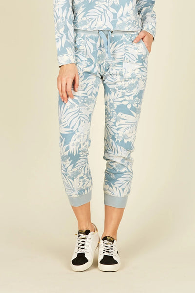 Vintage Havana Soft Denim Tropical Print Blue Burnout Jogger Style VH7315 on shopbfree.com