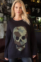 Wooden Ships Camo Skull Crew in Black and Fatigue Green Style Number K45Y2W048 on shopbfree.com; Women's Sweater;Women's Fashion; Wooden Ships;BfreeBabe; MyBfreeStyle; Bfree_Boutique;Women's Fall Fashion; Women's edgy Fashion