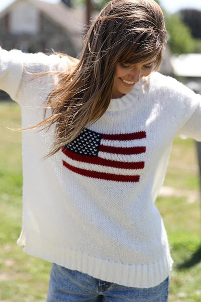 Wood Ships Flag Crew Chunky in Luffing White Style Number K45Y2W089 on shopbfree.com; Women's Sweater; Women's Fashion;Wood Ships Knit; BfreeBabe; MyBfreeStyle; Bfree_Boutique