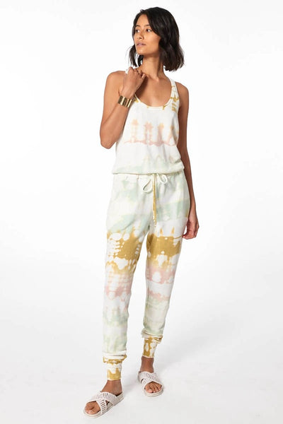 Young Fabulous and Broke Clothing Eberhart Jumpsuit in color willow Geode Wash Style Number 3354FS Willo;Women's Spring Jumpsuit;women's tie dye Jumpsuit