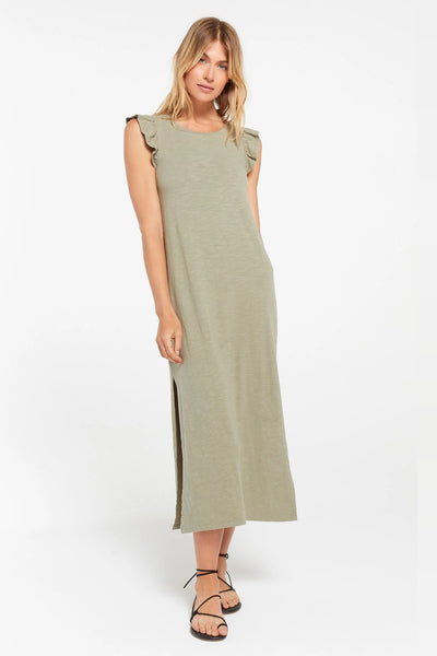 Z Supply Clothing Blakely Slub Ruffle Dress Style Number ZD211413 MWG in Meadow Green;Women's Casual Spring Dress;Women's Casual Spring and Summer Midi Dress;Women's SLub Midi Dress;Women's Midi Dress;Women's sage green Midi Dress;Women's Online Clothing and Accessories Boutique;Shopbfree;shopbfree.com;Bfree Warwick;Bfree Wyckoff;Bfree_boutique;bfreebabe;MyBfreeStyle
