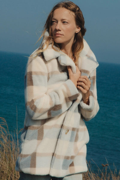 Z Supply Clothing Carmen Plaid Coat in Glacier Style Number ZJ203728 GLA;Women's Plaid Coat;Women's Coat;Women's Medium Length Coat;Fall Coat;Z Supply Coat;Women's Online Clothing and Accessories Boutique;shopbfree;Bfree_Boutique;MyBfreeStyle;BfreeBabe