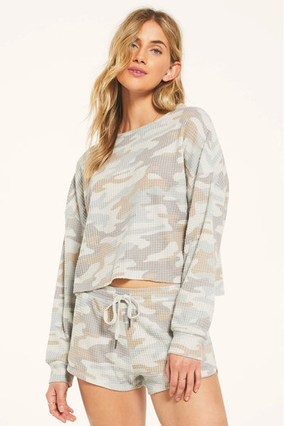 Z Supply Clothing Celine Camo Top in Camo Sage Mist Style Number ZT203440 COS on Shopbfree.com, BfreeBabe, MyBfreeStyle, Bfree_Boutique, Shopbfree, Women's Lounge Wear