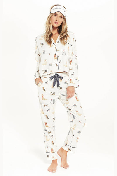Z Supply Clothing Dream State Pup PJ Set in Vanilla Ice Style Number ZZ204767 VAC;Women's PJ set;Women's Pajamas;Women's Dog Theme Pajamas;Dog Theme PJ's;Women's Online Clothing and Accessories Boutique;Bfree_Boutique;BfreeBabe;MyBfreeStyle