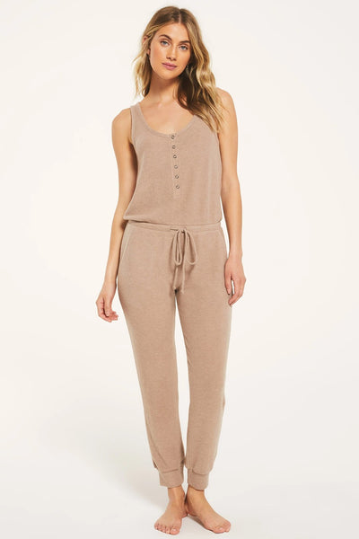 Z Supply Clothing Dreamer Rib Jumpsuit in Cocoa Style Number ZP203449 COA on Shopbfree.com, Women's Fall Lounge Wear, Women's Fall Z-Lounge, BfreeBabe, MyBfreeStyle, Bfree_Boutique, Fasll Women's Fashion Work From Home Style