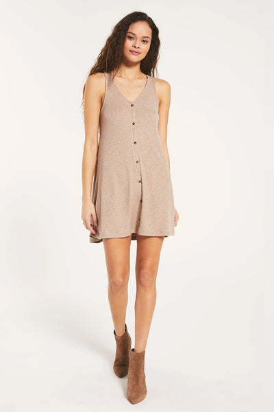 Z Supply Clothing Margo Rib Dress in Heather Latte Style Number ZD203722 HEL on shopbfree.com