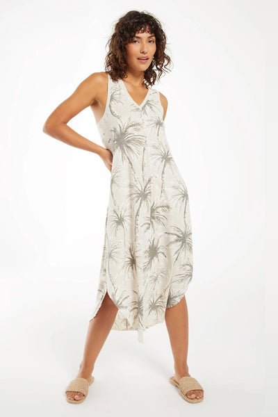 Z Supply Clothing Reverie Coconut Palm Dress Style Number ZD211651 GRY;Women's Casual Dress;Women's Printed Jersey Dress;Women's Spring Plaid Jacket;and Summer Dress;Women's Dress;Women's Online Clothing and Accessories Boutique;Shopbfree;shopbfree.com;Bfree Warwick;Bfree Wyckoff;Bfree_boutique;bfreebabe;MyBfreeStyle;Z Supply Lida Stripe Dress ZD202328 in Doe Skin and White Stripe;Supply Clothing Dress
