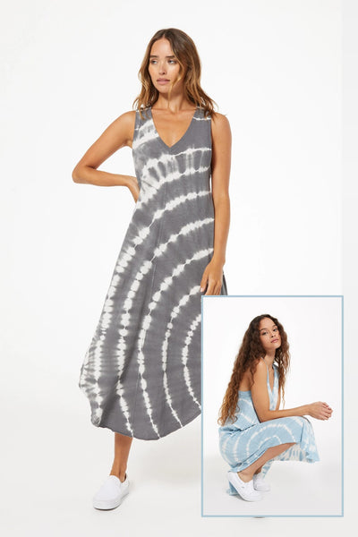 Z Supply Clothing Reverie Spiral Tie Dye Dress Style Number ZD211254;Women's Ribbed Dress;Women's Casual Dress;Women's Cotton Spring Dress;Women's Casual Ribbed Spring Dress;Women's Online Clothing and Accessories Boutique;Shopbfree;shopbfree.com;Bfree Warwick;Bfree Wyckoff;Bfree_boutique;bfreebabe;MyBfreeStyle;Z Supply Lida Stripe Dress ZD202328 in Doe Skin and White Stripe;Supply Clothing Dress