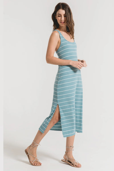Z Supply Clothing Seri Stripe Rib Tank Dress Style Number ZD201117 CBD In Cameo Blue Desert White on shopbfree.com