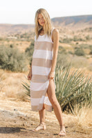 Z Supply Lida Stripe Dress Style ZD202328 in Doe Dove White Stripe on shopbfree.com