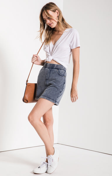 Knit Denim Skirt