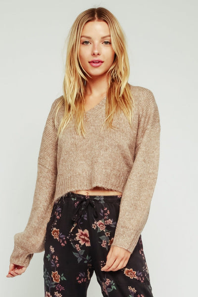 Semi-cropped V Neck Sweater