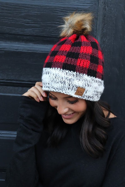 Panache Buffalo Plaid Pom Hat on shopbfree.com; Women's Pom Hat; Women's Buffaol Plaid Hat; Winter Pom Hat; Pom Hat; Women's Online Clothing and Accessories Boutique; Bfree_Boutique; BfreeBabe; MyBfreeStyle