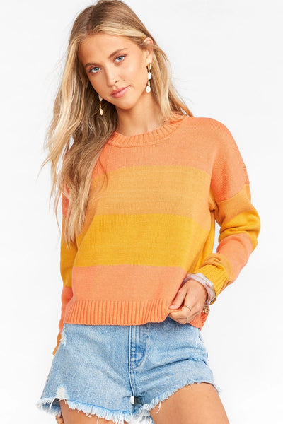 Show me your mumu Varsity Cropped Sweater MS0-4062 SO57 in Sunkissed Stripe