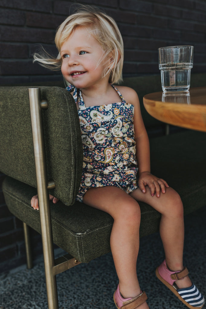 ISLA PLAYSUIT IN BLUE PAISLEY