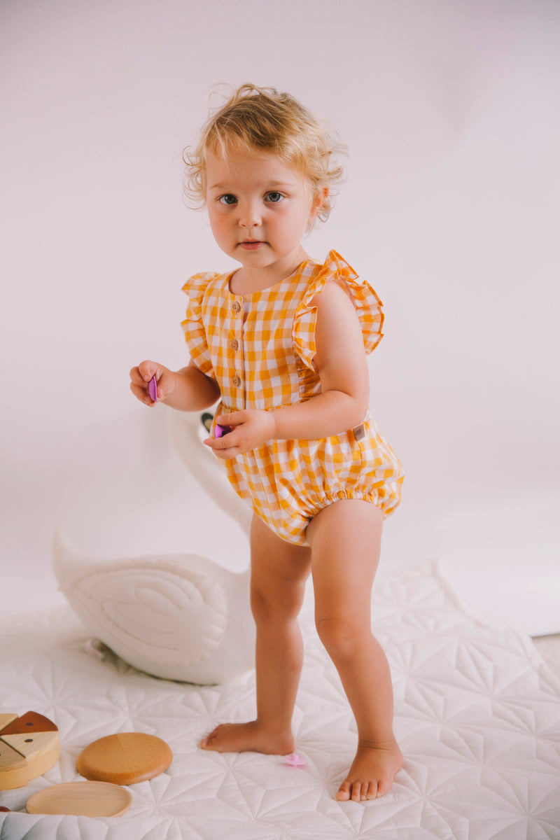 August Playsuit Mustard Check
