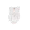 August Playsuit White Cotton/linen - Essential collection