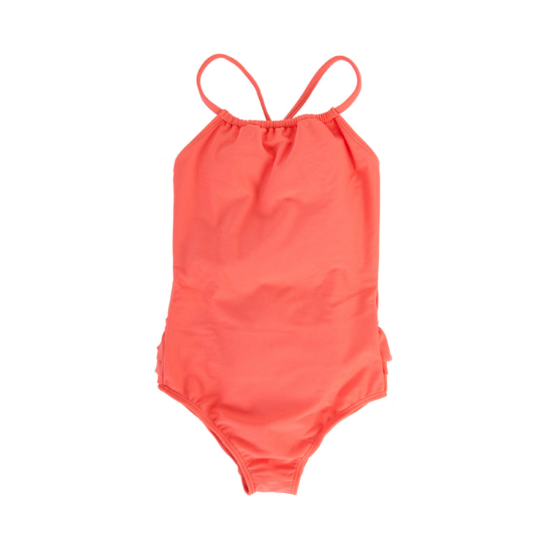 0fda537aa0a1d Audrey Frill Swimsuit In Hot Coral – Peggy