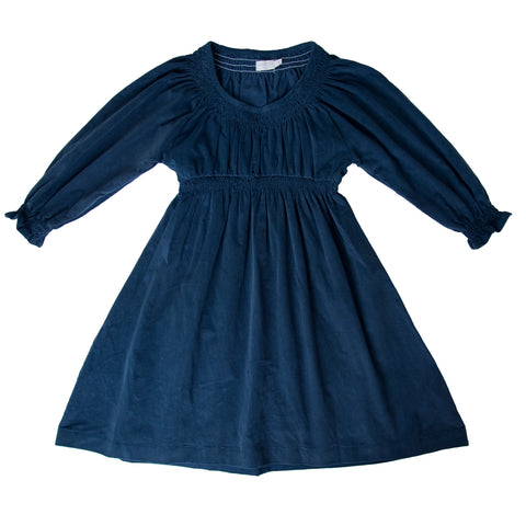 ANDY SHIRRED DRESS IN NAVY CORD