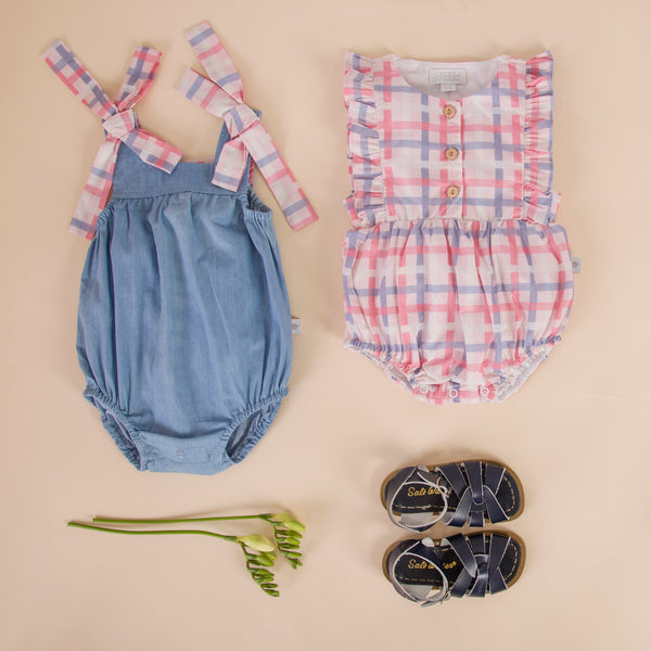 Petrina Playsuit Chambray With Check  Tie