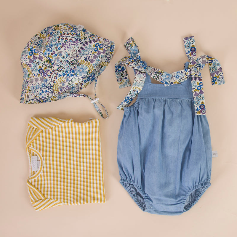 Petrina Playsuit Chambray With Floral Vine Tie