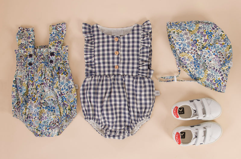 August Playsuit Navy Blue Gingham