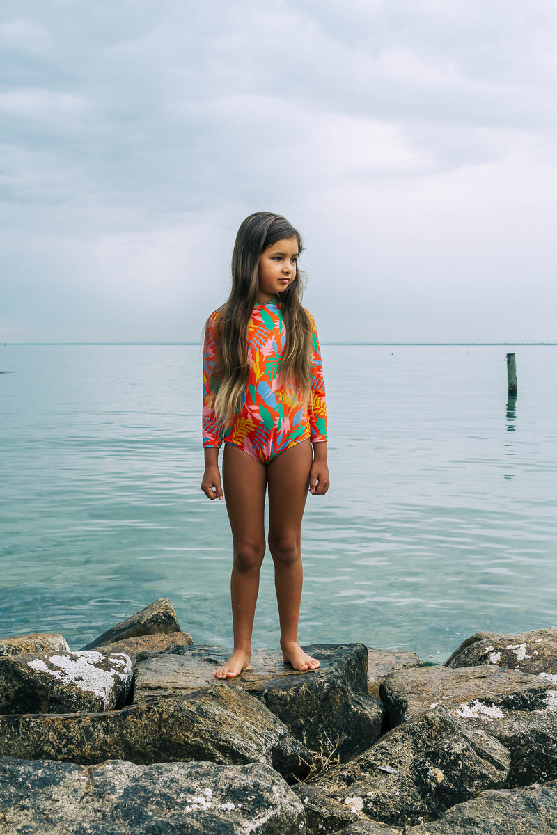 Maggie Long Sleeve Swimsuit In Bonnie Floral